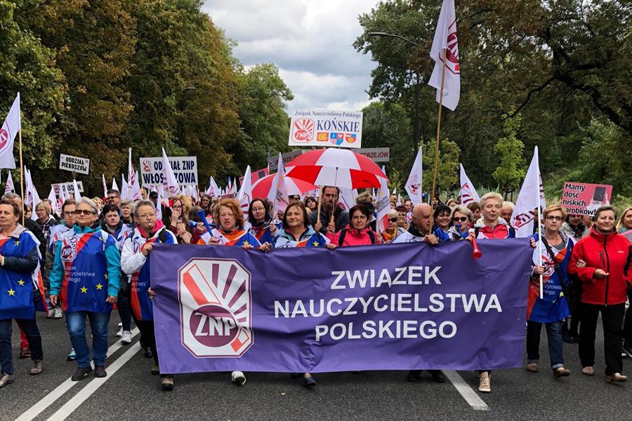 Protest nauczycieli i budżetówki w Warszawie